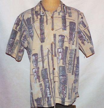 fbc50d3e Kahala 1936 Collection Hawaii Tribal Warrior Tiki Hawaiian Aloha Camp Shirt  XL