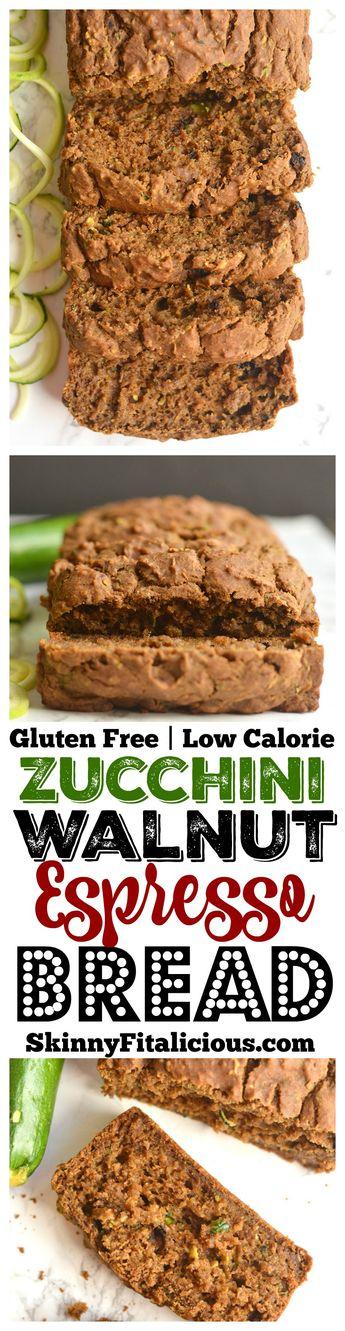 Zucchini Walnut Espresso Bread {GF, Low Cal}