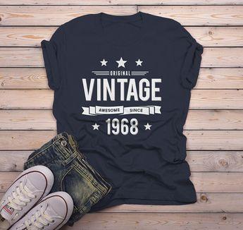 feddc67c3 Men's 50th Birthday T Shirt Original Vintage Shirt Awesome Since 1968 Tshirt
