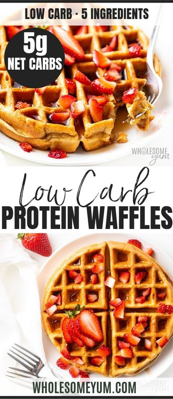 Easy Vanilla Low Carb Protein Waffles Recipe - How to make protein waffles? EASY! This low carb high protein waffles recipe (Atkins Protein Powder waffles!) is just 5 ingredients and ready in less than 10 minutes! And they'll help you avoid the Hidden Sugar Effect - when you eat carbs, they are converted to sugar in the body. Not with these protein waffles! #Ad #AtkinsInfluencer #wholesomeyum #lowcarb #lowcarbrecipes #lchf #breakfast #waffles #Atkins #TodayAtkins @AtkinsNutritionals
