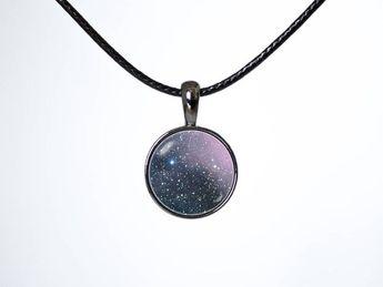 Nebula Carina Choker necklace Choker pendant Space gift Galaxy choker Leather choker Black cord Spac