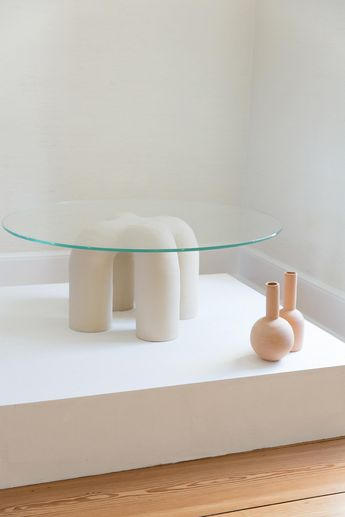 Hand-Built Stitch Coffee Table Customizable Height, Ceramic Base, Hand Painted For Sale at 1stdibs
