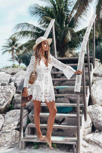 Handmade Beach Wedding Dress White Sheer Mesh Lace Beach Cover Up Dress
