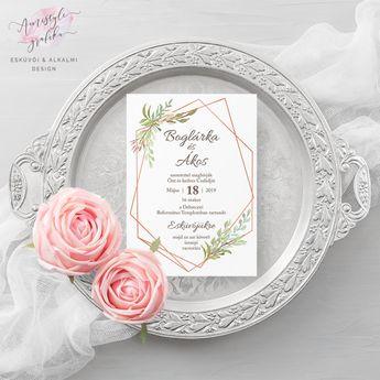 66412431ba Modern és trendi esküvői meghívó kézzel festett greenery grafikával és  rosegold geometrikus elemekkel, a modern