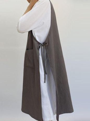 Retro Cotton Sleeveless Pockets Side Split Dress