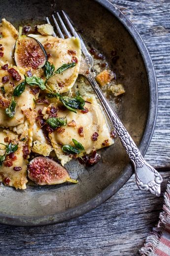 Butternut Squash and Goat Cheese Ravioli with Browned Butter + Oregano Bread Crumbs