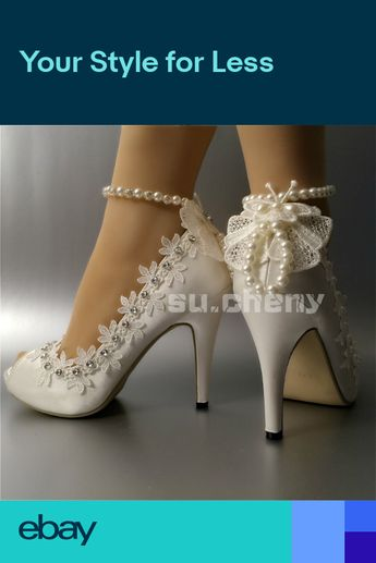 "6a173312b9aa07 su.cheny 3"" 4 heel satin white ivory lace anklet open toe Wedding shoes"