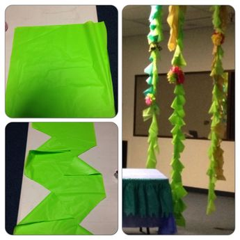 Decor Idea: Vines made from plastic tablecloth as a display/backdrop. #decorations #weirdanimals #vbs2014