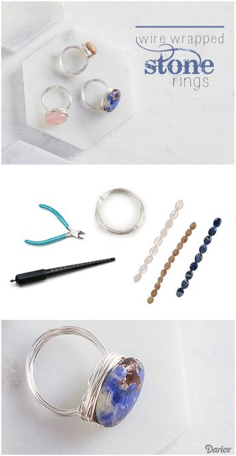DIY Stone Rings Wrapped with Wire - Darice