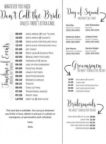 Editable Wedding Timeline - Edit in Word - Phone numbers and timeline - Day of Wedding Schedule