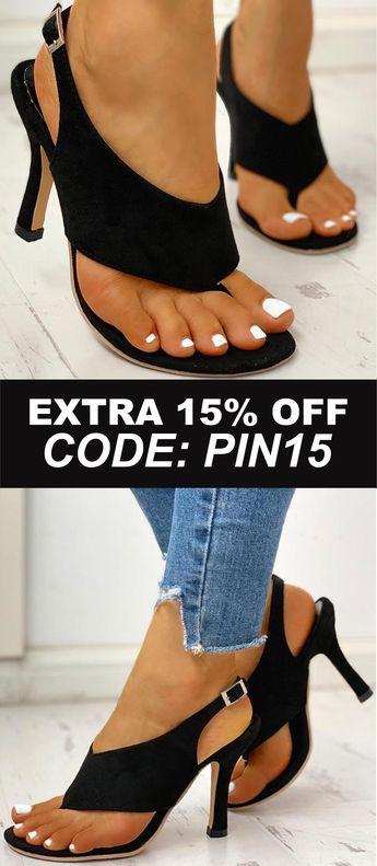Toe Post Slingback Thin Heeled Sandals