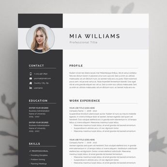 Modern Resume Template 4 page | CV Template + Cover Letter for MS Word | Instant Digital Download | 'Mia'