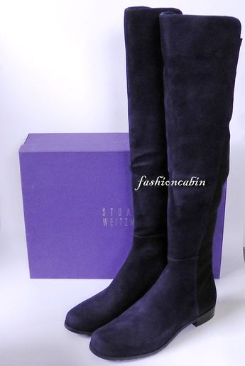 cac88ad8740 NEW Stuart Weitzman 5050 Suede Over the Knee Boot Shoes~ 🍒Blue~ 8 M