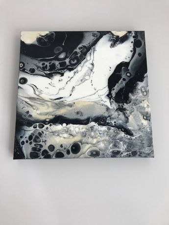 Fluid acrylic square painting