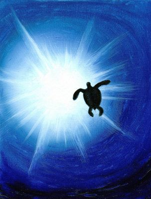 Sea Turtle Silhouette Painting at ArtistRising.