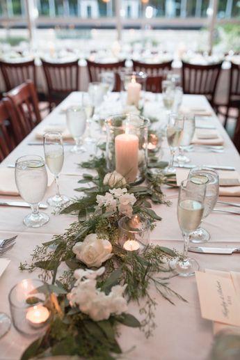 310 Lakeside wedding reception table garland & decor, Orlando | Captured by Elle