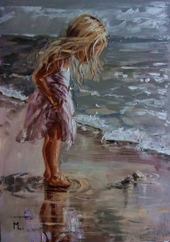 """Buy Prints of """" THE SWEETEST THINGS """" SEA original painting palette knife GIFT ANGEL MODERN, an Oil Painting on Canvas, by Monika Luniak from Germany, Not for sale, Price is $, Size is 27.6 x 19.7 x 0.8 in. #OilPaintingPalette"""