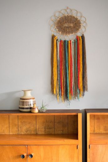 Cali Yarn Tapestry, Boho Rattan Art, Southwest Wall Hanging, Trivet Decor, Woven Basket Hanging, Large Dorm Weaving, Dreamcatcher Style Art
