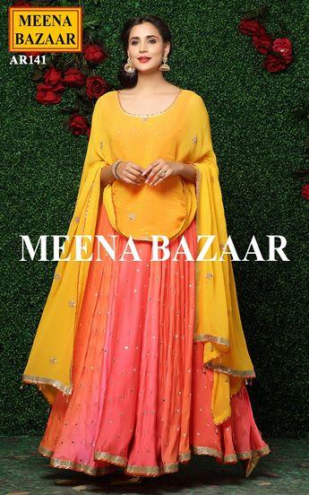 Orange Anarkali Suit with pre stitched fabric @ MeenaBazaar