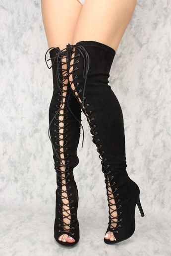 0587f864e38b Sexy Black Lace Up Open Toe Thigh High Boots Faux Suede