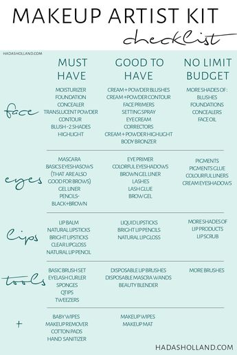 professional makeup kit essential. here is a makeup artist kit check list for beginners! building your pro makeup kit on a budget! check out my blog for more makeup artist freelance tips! hadasholland.com #hadasholland #makeupkit #promakeupkit #makeupartist