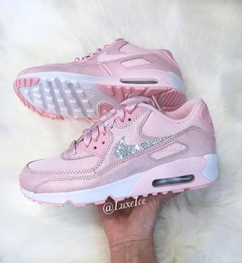 Sneakers - Women's Fashion : Nike Air Max 90 Prism Pink/White customized with SWAROVSKI®...