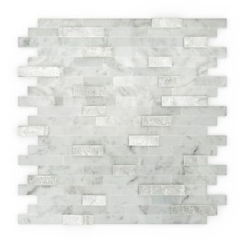 Inoxia SpeedTiles Himalayan White 11.77 in. x 11.57 in. x 8 mm Stone Self-Adhesive Wall Mosaic Tile (11.4 sq. ft./ case)