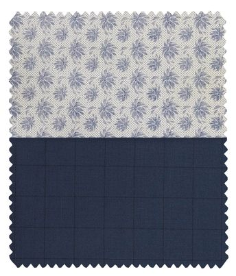 2b345551661 Combo of Raymond Aegean Blue Checks Trouser Fabric With Exquisite White  100% Cotton Blue Printed