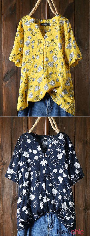 Vintage Print Floral Short Sleeve V Neck Shirt.