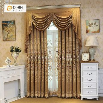 DIHIN HOME Embroidered Brown Valance ,Blackout Curtains Grommet Window Curtain for Living Room ,52x84-inch,1 Panel