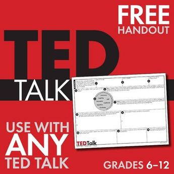 TED Talks, FREE Worksheet to Use With ANY TED Talk, Public Speaking, Grades 6-12