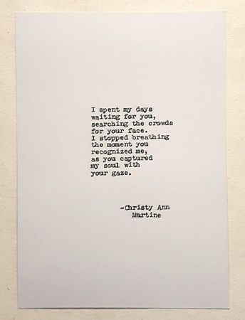 Boyfriend Anniversary Soulmate Gift - Unique Gifts - Love Poetry Hand Typed by Author