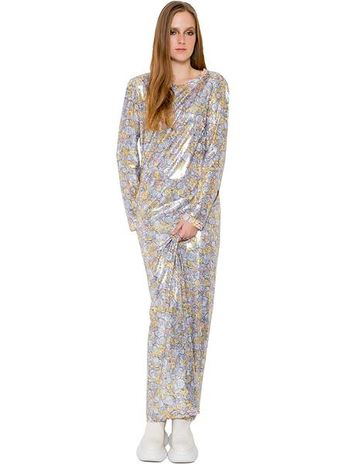 5085156db29b0 Shine Like Cash Money Coin Print Sequins Red Carpet Maxi Tunic L/S Dress