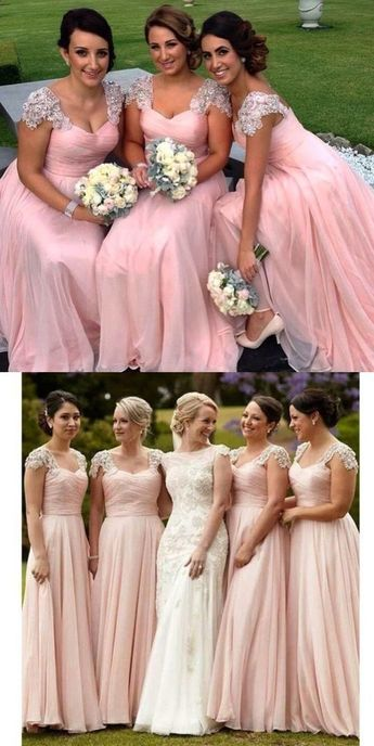 Simple Pink Tulle Bridesmaid Dress, Cap Sleeves Long Bridesmaid Dress 0301