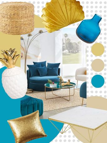 intérieur coloré bleu canard et or jaune moutarde