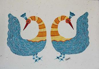 Signed Indian Gond Painting on Paper of Two Peacocks, 'Graceful Peacocks'