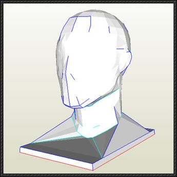 Human Head Helmet Stand Free Papercraft Download