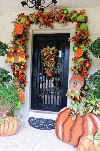2015 Halloween Diy Snowman And Pumpkin Deco Mesh Door Garl