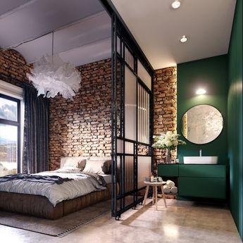 Loft industriel mur de briques salle de bain ouvert verrière suite parentale