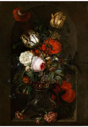 Jan van Huysum,  1682-1749 STILL LIFE WITH ROSES, TULIPS, WINCHES AND TAGETES