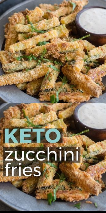 These Crispy Zucchini Fries are breaded with almond flour, parmesan and spices and baked until perfectly crispy! The perfect keto, low carb side dish! #keto