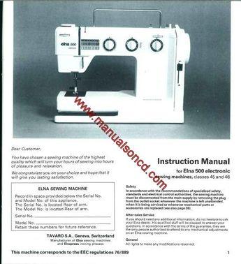 Elna Air Electronic Carina Elna 40 Sewing Machine Ser Interesting Elna Air Electronic Tsp Sewing Machine Manual