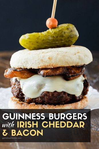 Looking for St. Patrick�s Day party food? Add these Guinness Burgers with Irish Cheddar and Bacon to your menu!