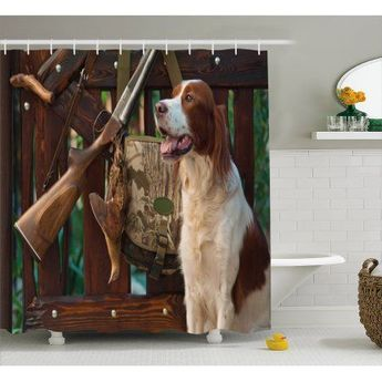 Hunting Decor Shower Curtain Gun Dog Near To Rifle And Trophies Pedigreed Hunted Duck Rustic