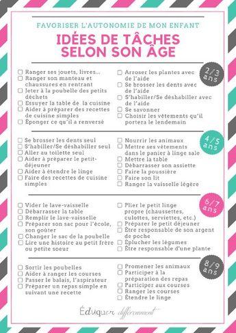 Idées de tâches selon l'âge de l'enfant pour favoriser l'autonomie