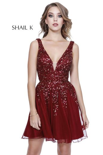 ff4308edafc V-Neck Low Back Satin Fit To Flare Homecoming Dress 33949