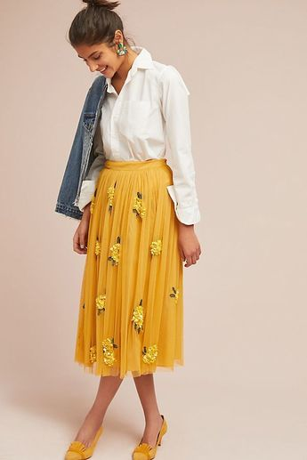Yellow Skirt,Appliques Skirt,Long Skirt,Fashion Women Skirt,Spring Autumn Skirt SK04