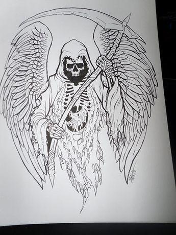 Grim Reaper Original Ink Drawing