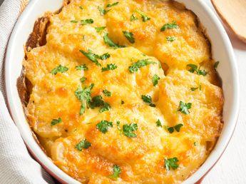 patate douce, pomme de terre, crème liquide, emmental, poivre, sel, muscade