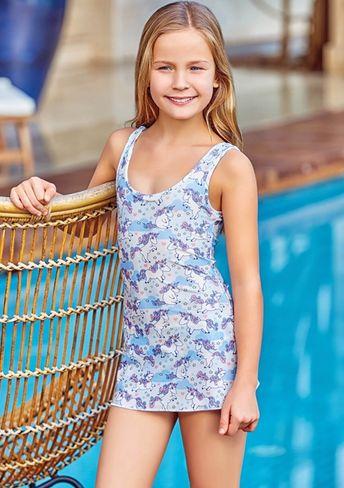 da4b608a3d Babi-kini Little Girl Fringed One-Piece Swimsuit Pink